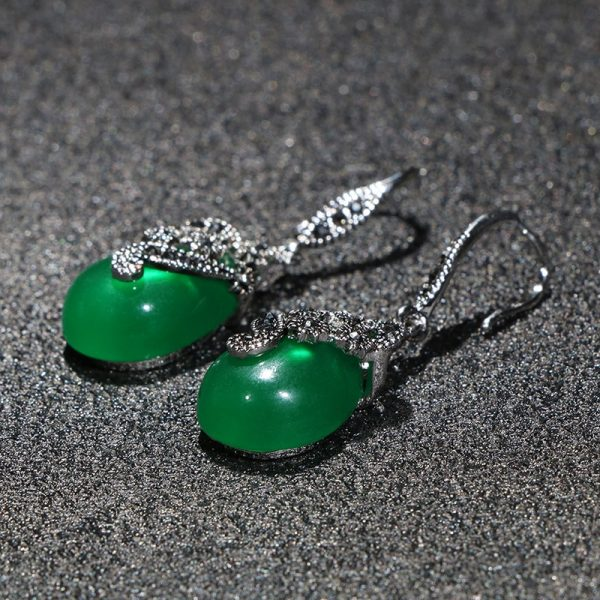 17453 108ede 600x600 - Cellacity Vintage Silver 925 Jewelry Water Drop Shaped Gemstones Earrings for Women Emerald Ruby Ear drops Temperament Party