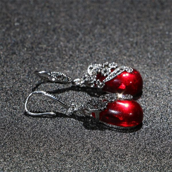 17453 12bf04 600x600 - Cellacity Vintage Silver 925 Jewelry Water Drop Shaped Gemstones Earrings for Women Emerald Ruby Ear drops Temperament Party