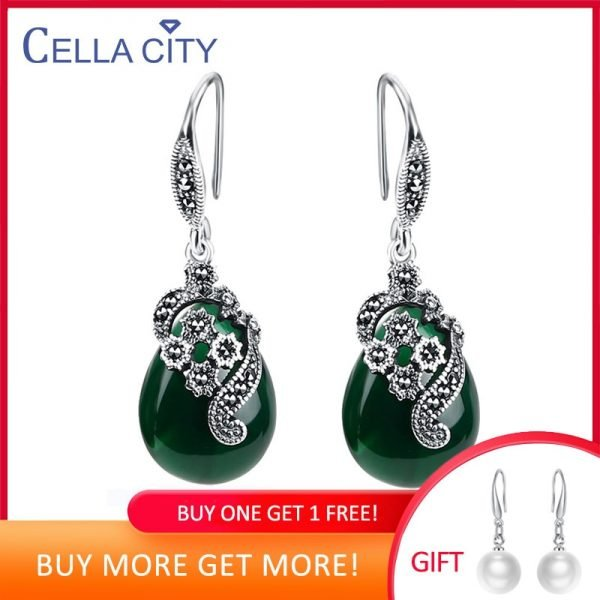 17453 6c8b01 600x600 - Cellacity Vintage Silver 925 Jewelry Water Drop Shaped Gemstones Earrings for Women Emerald Ruby Ear drops Temperament Party