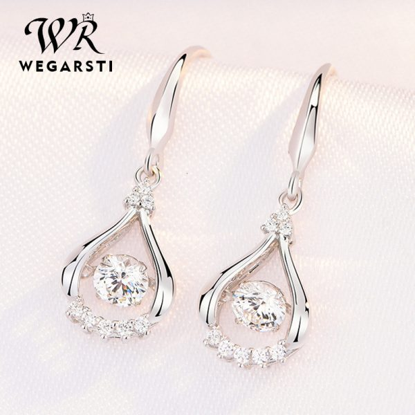17538 35023d 600x600 - WEGARASTI Silver 925 Jewelry Zircon Drop Earrings For Women Real 100% Silver Earring Wholesale Party Wedding Gift Earring Silver