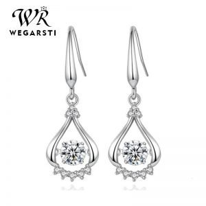 17538 b8c7f6 300x300 - WEGARASTI Silver 925 Jewelry Zircon Drop Earrings For Women Real 100% Silver Earring Wholesale Party Wedding Gift Earring Silver