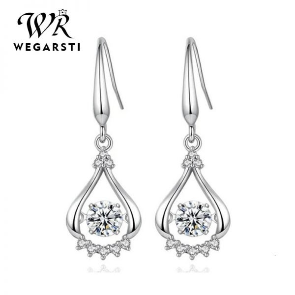 17538 b8c7f6 600x600 - WEGARASTI Silver 925 Jewelry Zircon Drop Earrings For Women Real 100% Silver Earring Wholesale Party Wedding Gift Earring Silver