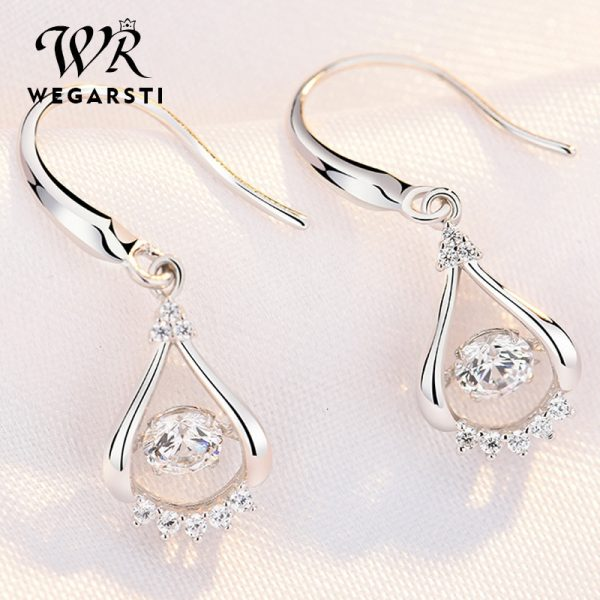17538 cca836 600x600 - WEGARASTI Silver 925 Jewelry Zircon Drop Earrings For Women Real 100% Silver Earring Wholesale Party Wedding Gift Earring Silver