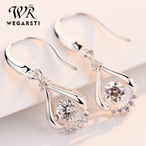 17538 ed7010 600x600 - WEGARASTI Silver 925 Jewelry Zircon Drop Earrings For Women Real 100% Silver Earring Wholesale Party Wedding Gift Earring Silver