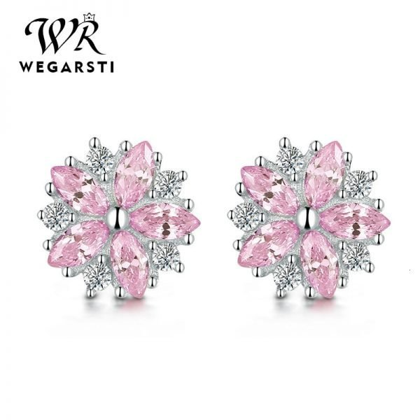 17555 45a89c 600x600 - WEGARASTI Silver 925 Jewelry Earrings Woman Pink Cherry Earring 925 Sterling Silver Earrings Wedding Earring