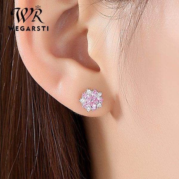 17555 c1b91b 600x600 - WEGARASTI Silver 925 Jewelry Earrings Woman Pink Cherry Earring 925 Sterling Silver Earrings Wedding Earring
