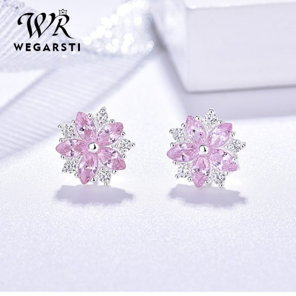 17555 cd3753 600x600 - WEGARASTI Silver 925 Jewelry Earrings Woman Pink Cherry Earring 925 Sterling Silver Earrings Wedding Earring