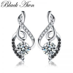 17564 537147 300x300 - [BLACK AWN] Genuine 925 Sterling Silver Female Earring Fine Jewelry Vintage Wedding Stud Earrings for Women T006