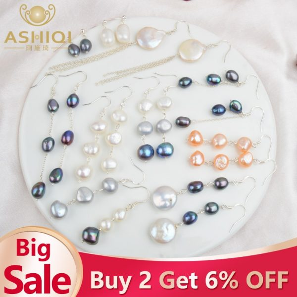 17585 6200b4 600x600 - ASHIQI Natural Freshwater Pearl Earrings Real 925 Sterling Silver long korean earrings for Women Big Baroque pearl Jewelry Gift