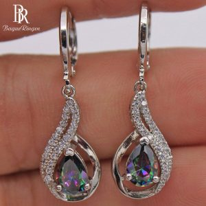 17590 634a7d 300x300 - Bague Ringen Fashionable Silver 925 Jewelry Rainbow Topa Stone Earrings for Women Water Drop Shape Drop Earrings High Quality