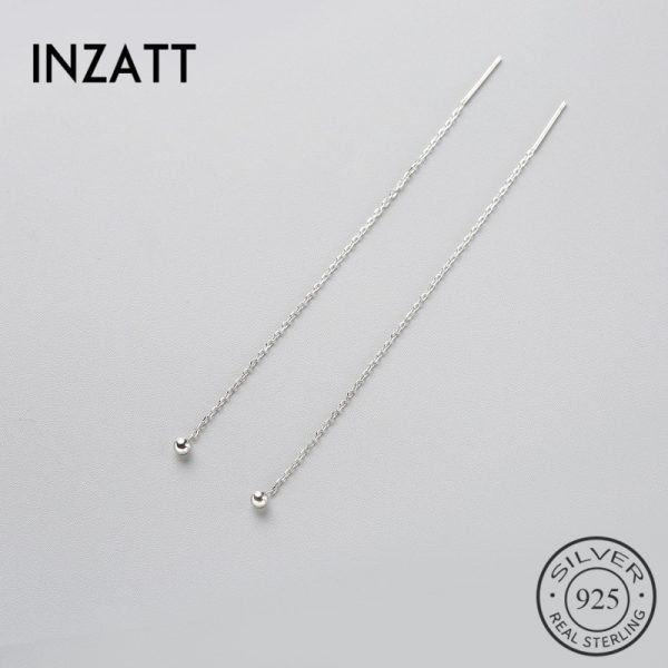 17632 e27a3d 600x600 - INZATT Minimalist 925 Sterling Silver Dangle Drop Earrings Fine Jewelry Glossy Bead Long Tassel Metal Chain Pendientes 2018 Gift