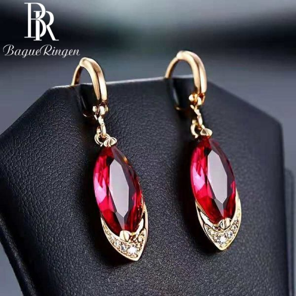 17644 6d8a1c 600x600 - Begua Ringen Classic Design 925 sterling silver restoring ancient pomegranate red corundum earring