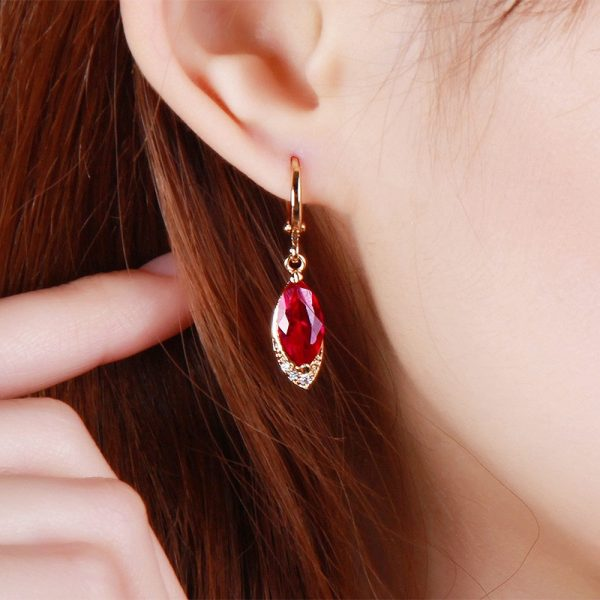 17644 b88051 600x600 - Begua Ringen Classic Design 925 sterling silver restoring ancient pomegranate red corundum earring