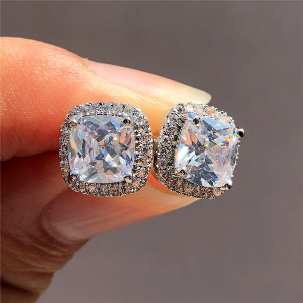 19798 68a614 600x600 - Luxury Female Crystal Zircon Stone Earrings Fashion 925 Sterling Silver Filled Jewelry Vintage Double Stud Earrings For Women