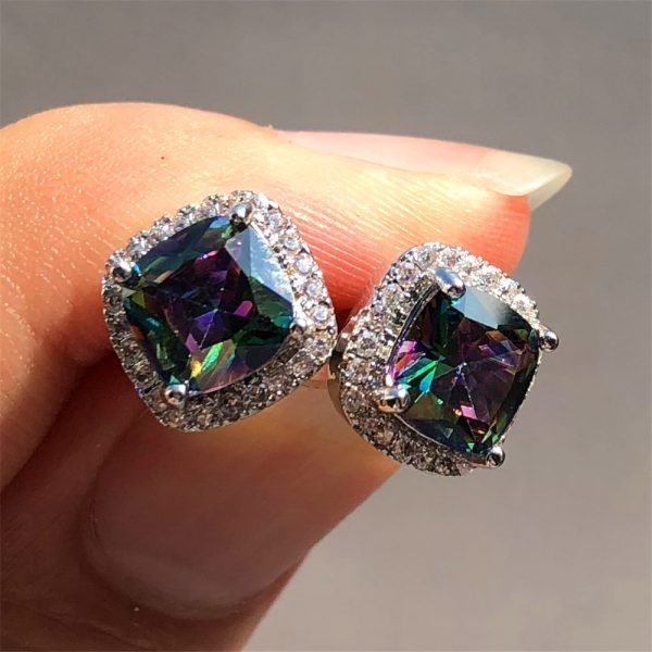 19798 a7a6b9 600x600 - Luxury Female Crystal Zircon Stone Earrings Fashion 925 Sterling Silver Filled Jewelry Vintage Double Stud Earrings For Women