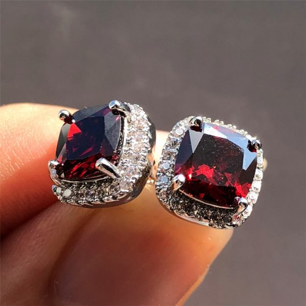 19798 d42a31 600x600 - Luxury Female Crystal Zircon Stone Earrings Fashion 925 Sterling Silver Filled Jewelry Vintage Double Stud Earrings For Women