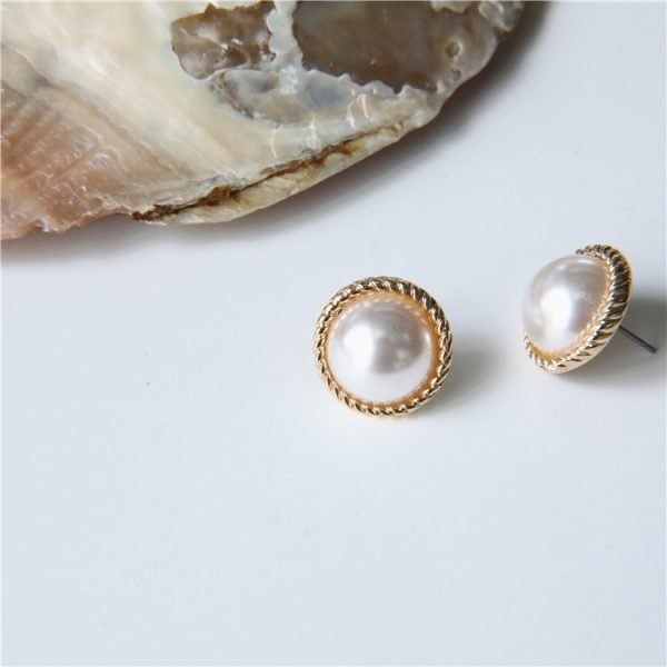 19808 131d8a 600x600 - MENGJIQIAO 2019 Japan New Vintage Round Marble Opal Stone Big Stud Earrings For Women Fashion Temperament Simulated Pearl Brinco