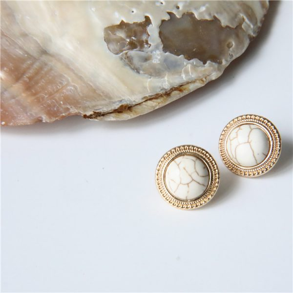 19808 35b2bb 600x600 - MENGJIQIAO 2019 Japan New Vintage Round Marble Opal Stone Big Stud Earrings For Women Fashion Temperament Simulated Pearl Brinco