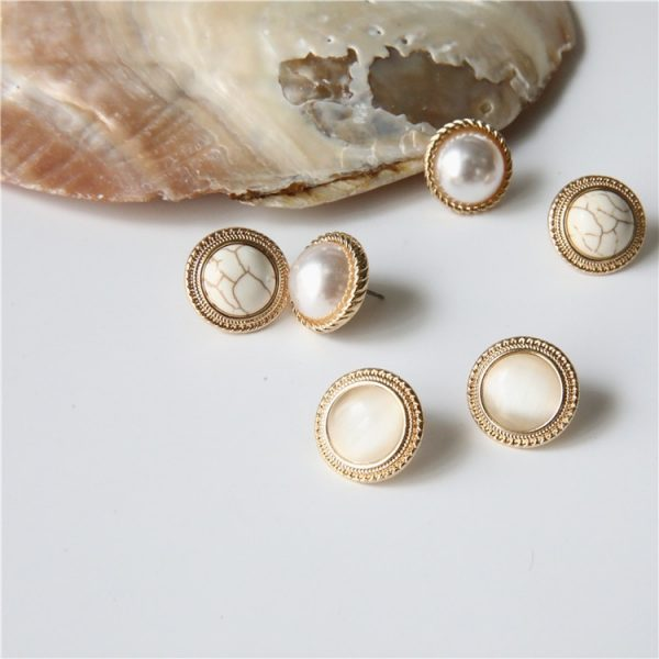 19808 7e5027 600x600 - MENGJIQIAO 2019 Japan New Vintage Round Marble Opal Stone Big Stud Earrings For Women Fashion Temperament Simulated Pearl Brinco