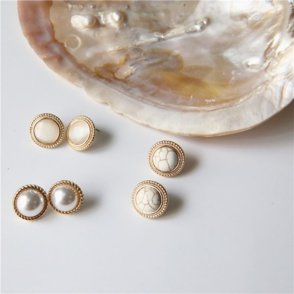 19808 88fca6 600x600 - MENGJIQIAO 2019 Japan New Vintage Round Marble Opal Stone Big Stud Earrings For Women Fashion Temperament Simulated Pearl Brinco