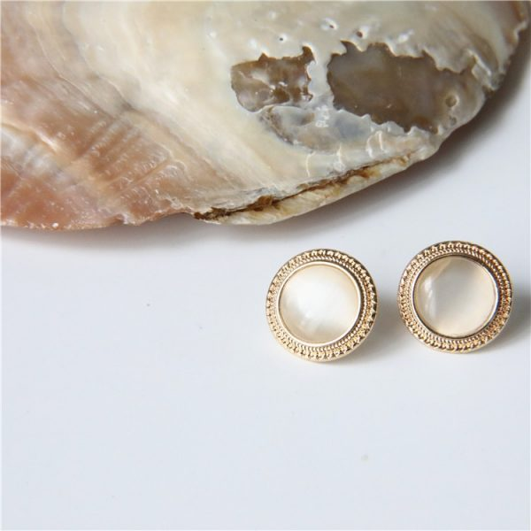 19808 9b4677 600x600 - MENGJIQIAO 2019 Japan New Vintage Round Marble Opal Stone Big Stud Earrings For Women Fashion Temperament Simulated Pearl Brinco