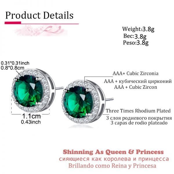 19857 4a7d72 600x600 - Classic Green AAA Cubic Zirconia Stud Earrings Round Crystal Girl Ear Studs For Women Multicolor Fashion Jewelry brincos AE176