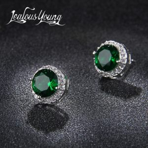 19857 694dda 300x300 - Classic Green AAA Cubic Zirconia Stud Earrings Round Crystal Girl Ear Studs For Women Multicolor Fashion Jewelry brincos AE176