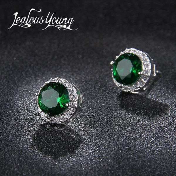 19857 694dda 600x600 - Classic Green AAA Cubic Zirconia Stud Earrings Round Crystal Girl Ear Studs For Women Multicolor Fashion Jewelry brincos AE176
