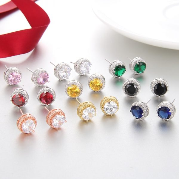 19857 d0a00c 600x600 - Classic Green AAA Cubic Zirconia Stud Earrings Round Crystal Girl Ear Studs For Women Multicolor Fashion Jewelry brincos AE176
