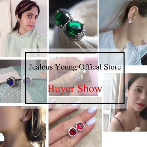 19857 f8fae6 600x600 - Classic Green AAA Cubic Zirconia Stud Earrings Round Crystal Girl Ear Studs For Women Multicolor Fashion Jewelry brincos AE176