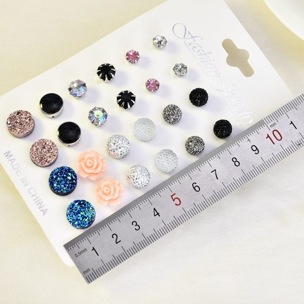 19894 ad1823 600x600 - 12 pairs/set Crystal 2019 New Fashion Earrings Set Women Jewelry Accessories Piercing Ball Stud Earring kit Bijouteria brincos
