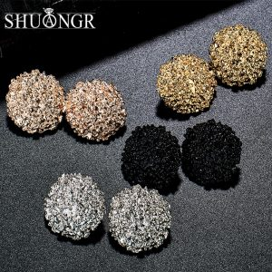 19901 13dae0 300x300 - SHUANGR Punk Gold Sliver Black Round Oval Metal Stud Earrings Simple Geometric Earrings For Women Personality Jewelry Brincos