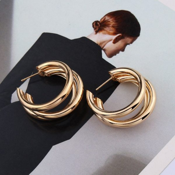 21453 2d9134 600x600 - Trendy Fashion Metal Elegant Hoop Earring Woman 2019 New Vintage Gold Color Cheap korean Statement Earrings Accessories brincos