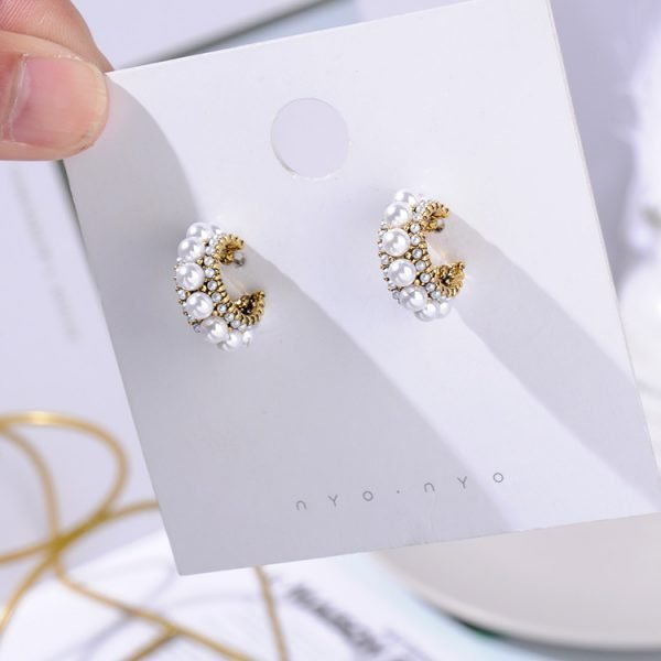 21490 778fa3 600x600 - MENGJIQIAO 2019 New Hot Sale Vintage Colorful Rhinestone Small Hoop Earrings Women Fashion Simulated Pearl Semicircle Pendientes