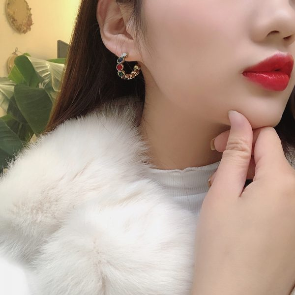 21490 80e340 600x600 - MENGJIQIAO 2019 New Hot Sale Vintage Colorful Rhinestone Small Hoop Earrings Women Fashion Simulated Pearl Semicircle Pendientes