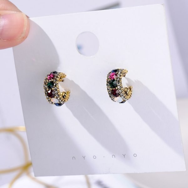 21490 b2c3a0 600x600 - MENGJIQIAO 2019 New Hot Sale Vintage Colorful Rhinestone Small Hoop Earrings Women Fashion Simulated Pearl Semicircle Pendientes