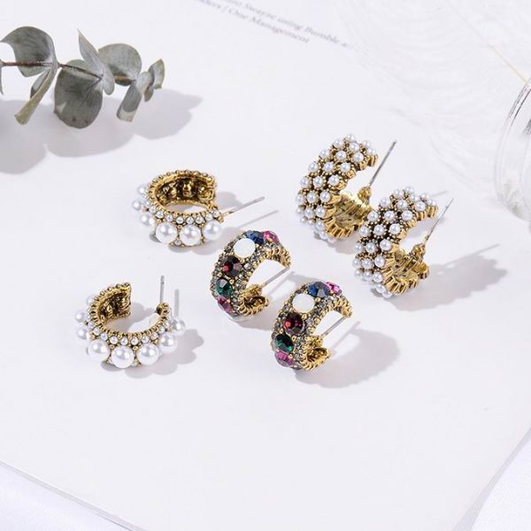 21490 f15711 600x600 - MENGJIQIAO 2019 New Hot Sale Vintage Colorful Rhinestone Small Hoop Earrings Women Fashion Simulated Pearl Semicircle Pendientes