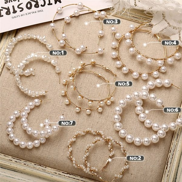 21506 5b50af 600x600 - 17KM Oversize Pearl Hoop Earrings For Women Girls Unique Twisted Big Earrings Circle Earring Brinco Statement Fashion Jewelry