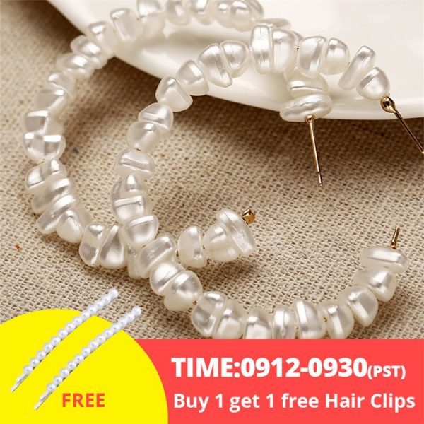 21506 8c3e16 600x600 - 17KM Oversize Pearl Hoop Earrings For Women Girls Unique Twisted Big Earrings Circle Earring Brinco Statement Fashion Jewelry