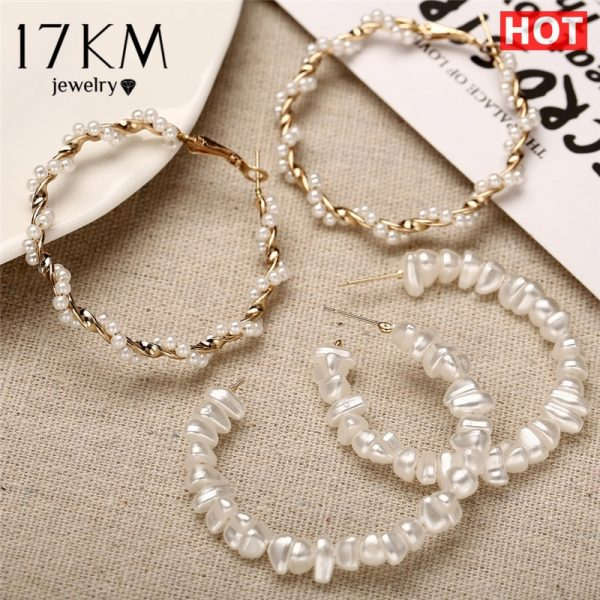 21506 e04959 600x600 - 17KM Oversize Pearl Hoop Earrings For Women Girls Unique Twisted Big Earrings Circle Earring Brinco Statement Fashion Jewelry