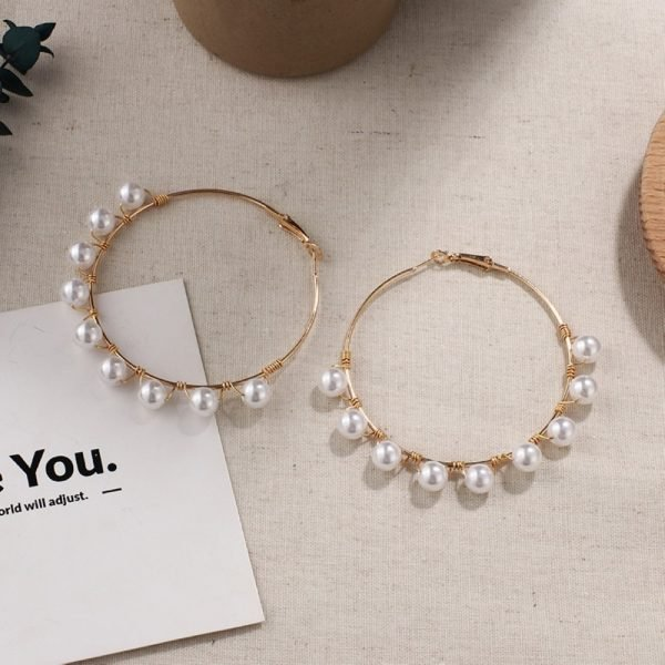 21507 0fd824 600x600 - New Boho White Imitation Pearl Round Circle Hoop Earrings Women Gold Color Big Earings Korean Jewelry Brincos Statement Earrings