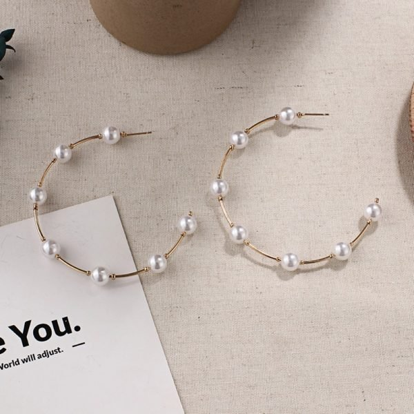 21507 46b6b7 600x600 - New Boho White Imitation Pearl Round Circle Hoop Earrings Women Gold Color Big Earings Korean Jewelry Brincos Statement Earrings
