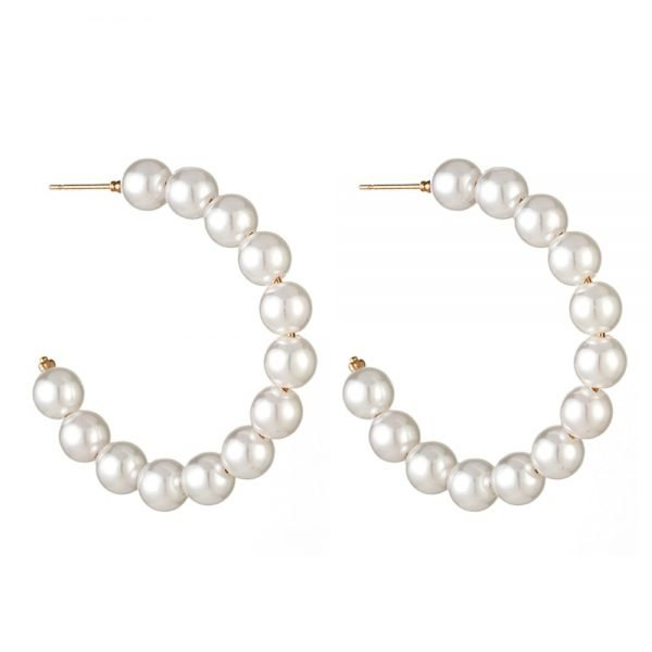 21507 77ea99 600x600 - New Boho White Imitation Pearl Round Circle Hoop Earrings Women Gold Color Big Earings Korean Jewelry Brincos Statement Earrings