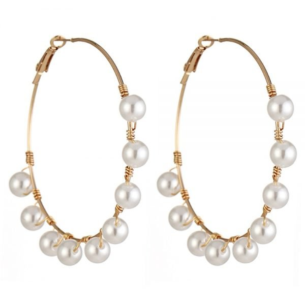21507 a8e5c4 600x600 - New Boho White Imitation Pearl Round Circle Hoop Earrings Women Gold Color Big Earings Korean Jewelry Brincos Statement Earrings