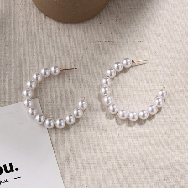 21507 f62550 600x600 - New Boho White Imitation Pearl Round Circle Hoop Earrings Women Gold Color Big Earings Korean Jewelry Brincos Statement Earrings