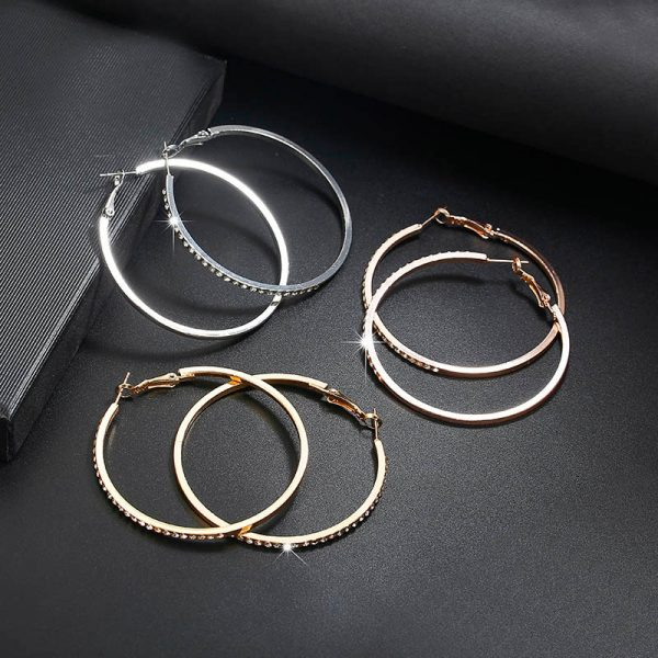 21513 367e22 600x600 - 2018 Fashion Hoop Earrings With Rhinestone Circle Earrings Simple Earrings Big Circle Gold Color Loop Earrings For Women