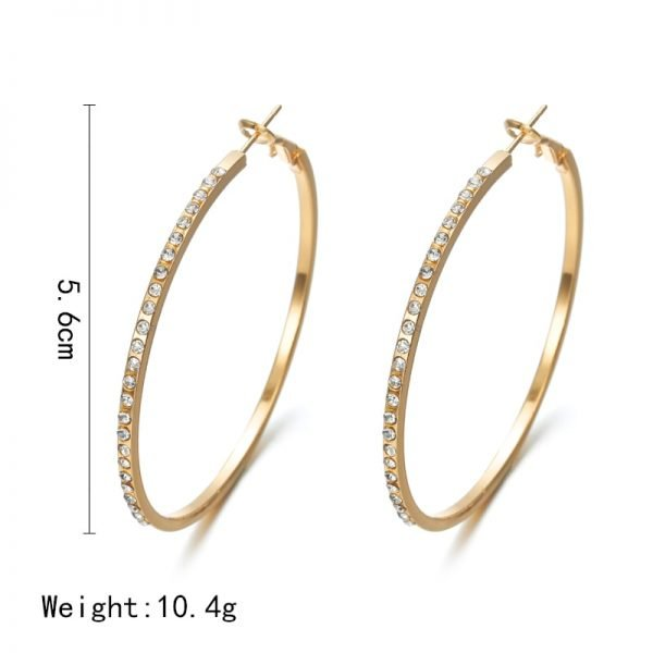 21513 a3f0f6 600x600 - 2018 Fashion Hoop Earrings With Rhinestone Circle Earrings Simple Earrings Big Circle Gold Color Loop Earrings For Women