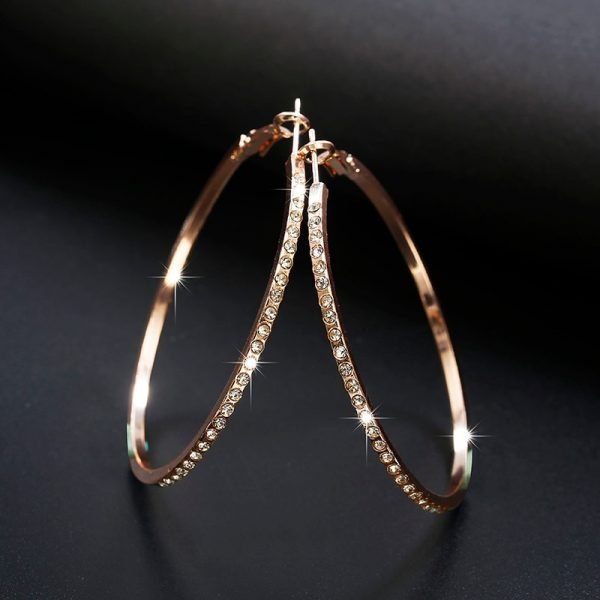21513 ead7f3 600x600 - 2018 Fashion Hoop Earrings With Rhinestone Circle Earrings Simple Earrings Big Circle Gold Color Loop Earrings For Women