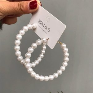 21645 65665c 300x300 - Fashion Simulated Pearl Statement Big Small Hoop Earrings for Women Exaggerate Circle Earrings Personality Nightclub Jewelry