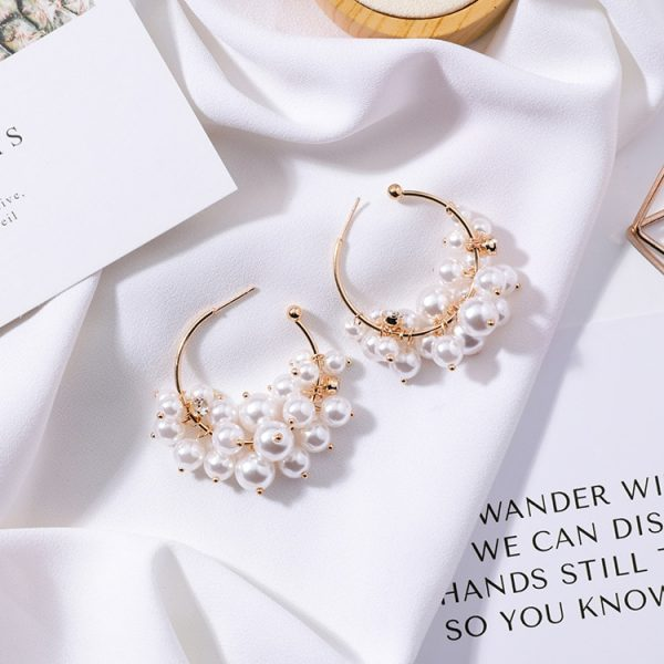 21645 7fa91a 600x600 - Fashion Simulated Pearl Statement Big Small Hoop Earrings for Women Exaggerate Circle Earrings Personality Nightclub Jewelry